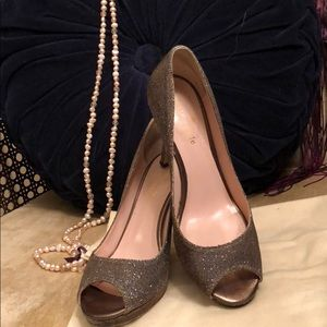 Kate Spade Glitter Sparkly Peep Toe Pumps